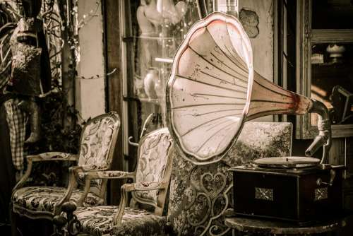 Flea Market Gramophone Music Speakers Melody
