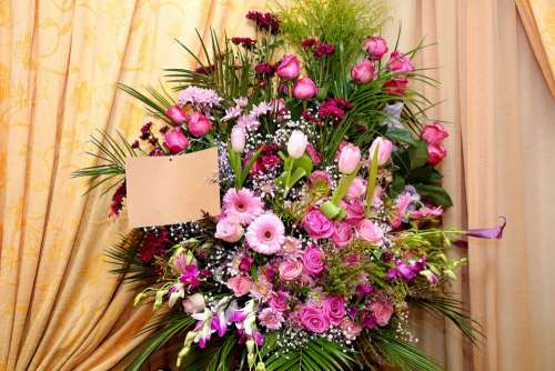 Flower Arrangement With Card Bunch Of Flowers