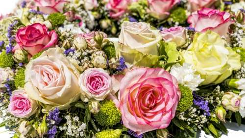 Flowers Bouquet Roses Wedding Blossom Bloom