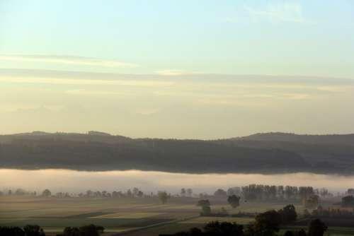 Fog Wide Landscape Mood Autumn Rest Silent