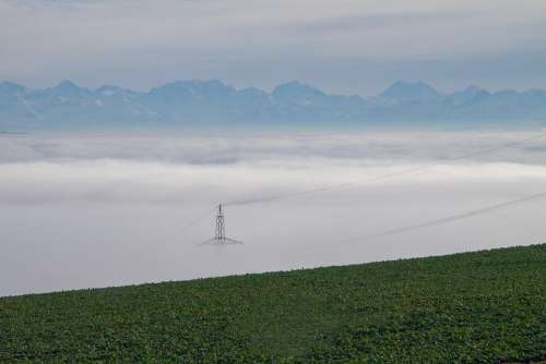 Fog Sea Of Fog Strommast Mountain Range Landscape