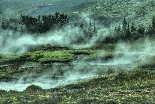 Foggy Hillside Forest Mountain Fog Landscape Mist