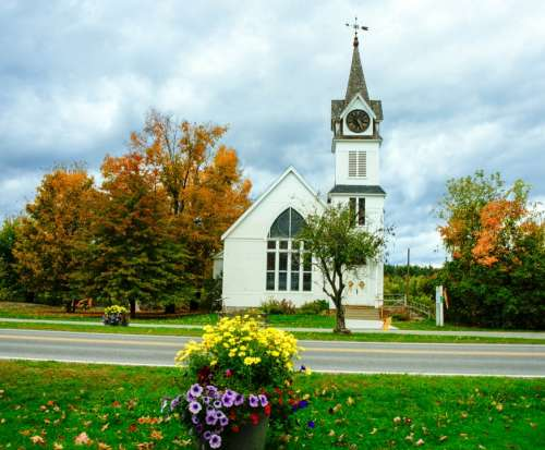 Foliage Rural Church Flowers Vermont Architecture