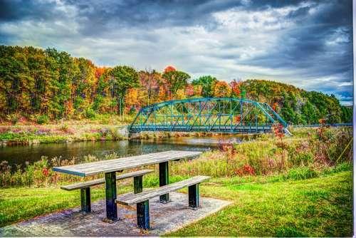 Foliage Bridge Fall Autumn Landscape Nature Park