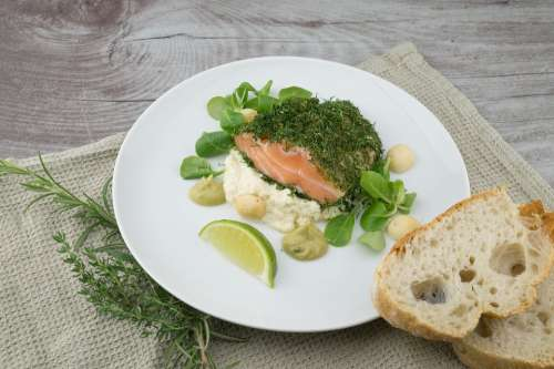 Food Meal Salmon Fish Lime Bread Healthy Cuisine