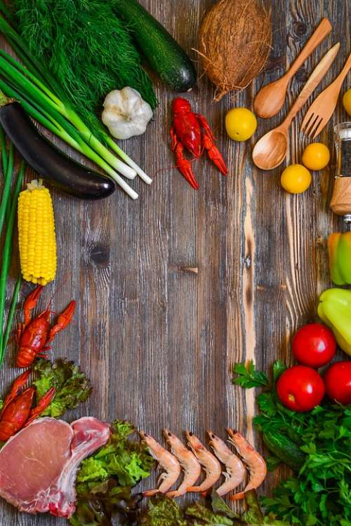 Food Products Rustic Vegetables Meat Cooking