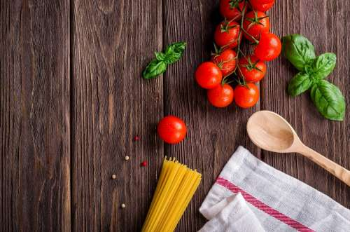 Food Kitchen Cook Tomatoes Background Dish Basil