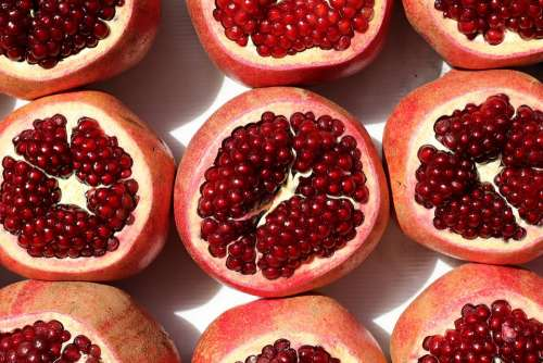 Food Fruits Pomegranate Delicious Ripe Fresh