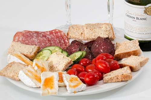 Food Platter Cheese Salami Smoked Beef Tomato