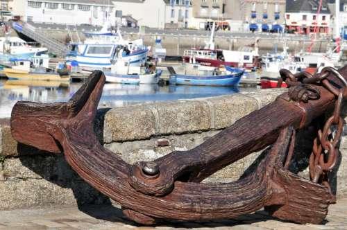 Fouesnant Anchor Wharf Boats Sea