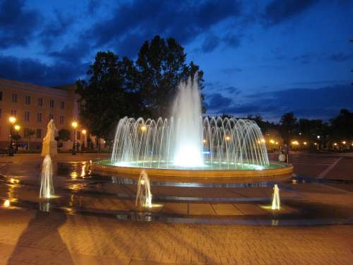 Fountain Nagykanizsa Night Lights