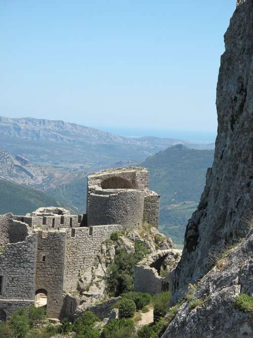 France Pyrenees Spain Landscape Ruin Castle Vista