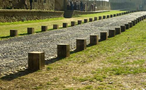 France Carcassonne Paved Street Medieval City