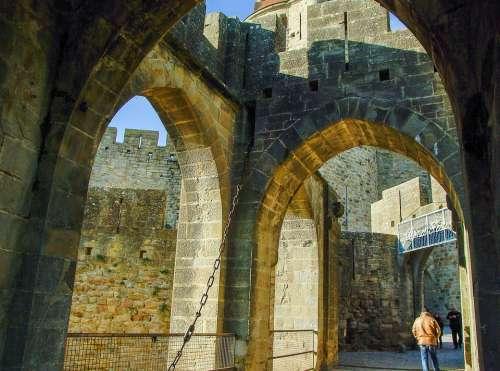 France Carcassonne Ramparts Drawbridge