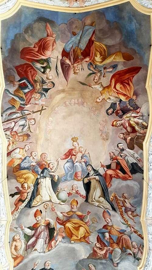 Fresco Ceiling Painting Maria Child Holy Church