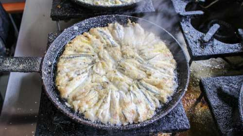 Fried Anchovy Frying Pan Cooking Fish Food Seafood