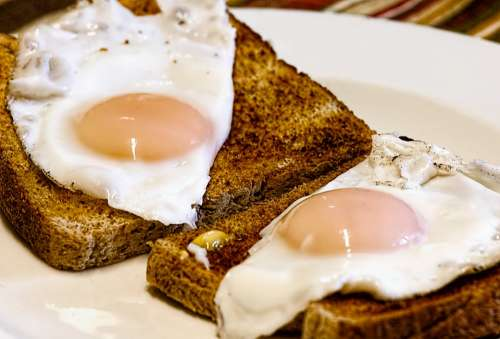 Fried Eggs Breakfast Toast Food Egg Yolk Morning