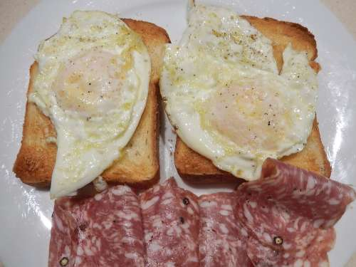 Fried Eggs Salami Peppered Toast Breakfast Food