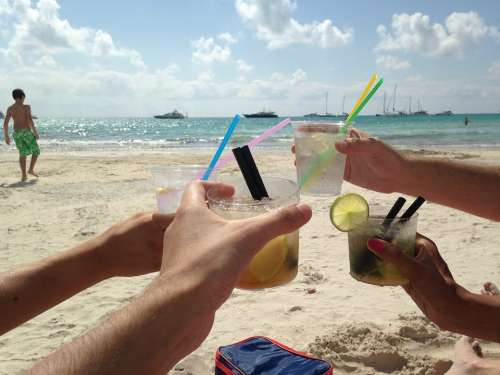 Friendship Mojitos Drinks Alcohol Toast Cups