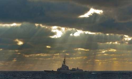 Frigate Navy Military Rays Cloud Sun Light Ship