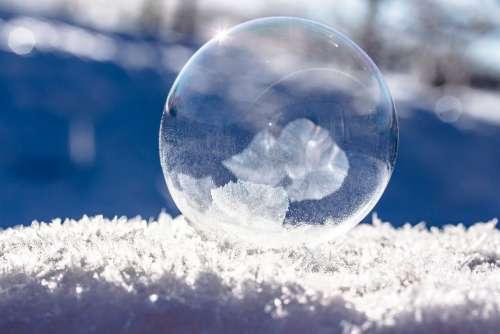 Frozen Bubble Soap Bubble Frozen Winter Sunbeam