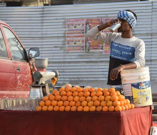 Fruit Vendor Juice Market Food Fresh India