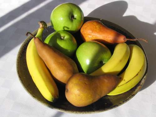 Fruit Apple Banana Pear Fresh Bowl Ripe