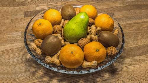 Fruit Bowl Nuts Fruit Fruits Healthy Nutrition
