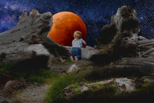 Full Moon Blood Moon Red Moon Lunar Eclipse Child