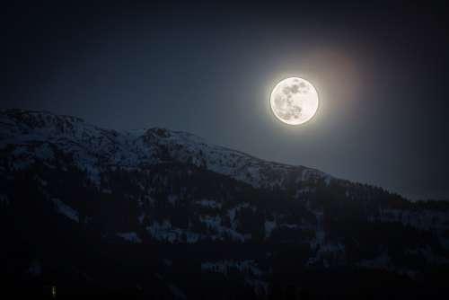 Full Moon Moon Mountain Night Super Full Moon Mood