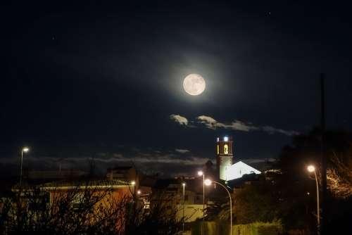 Full Moon Moon Village Night Landscape