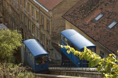 Funicular Lift Travel Landscape Zagreb Croatia