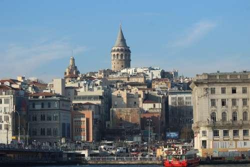Galata Tower Galata Estuary Istanbul Turkey Marine