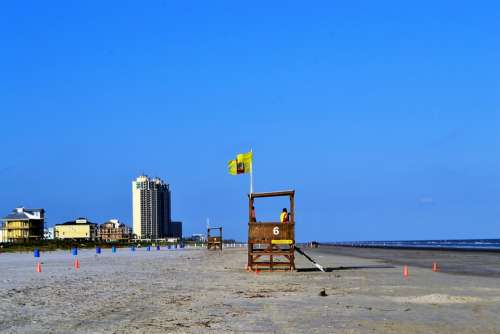 Galveston Houston Beach Summer Texas Lifeguard