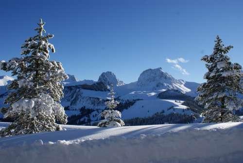 Gantrisch Mountains Alpine Wintry Switzerland