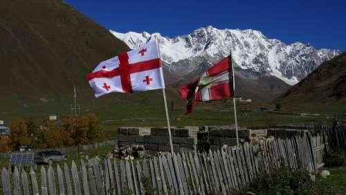 Georgia Svaneti Caucasus Georgian Flag Ushguli