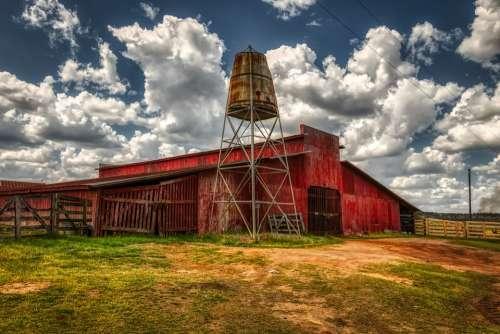 Georgia America Farm Red Barn Water Tower