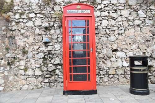 Gibraltar London Phone Booth English British Red