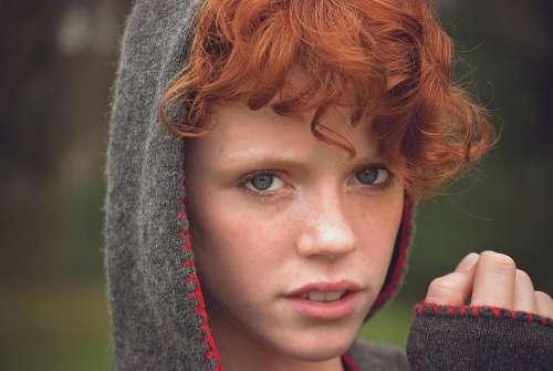 Girl Face Blue Eyes Hood Red Hair Female Portrait