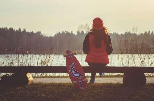 Girl Longboard Break Chilling Lakeside Young