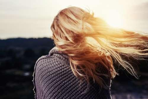 Girl Hair Blowing Blonde Woman Behind Back Wind