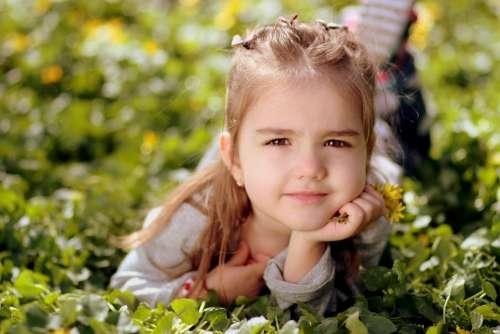 Girl Toddler Long Hair Portrait Spring Beauty