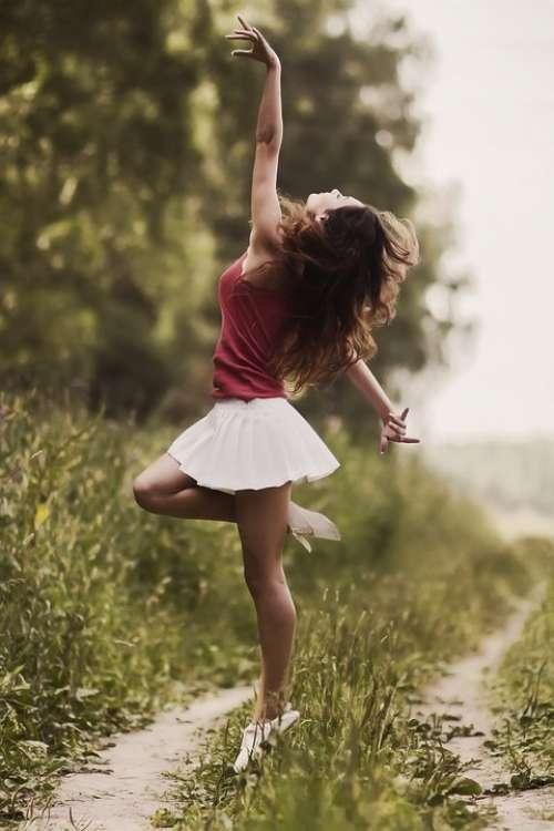 Girl Model Skirt Ease Dance Happy Happiness