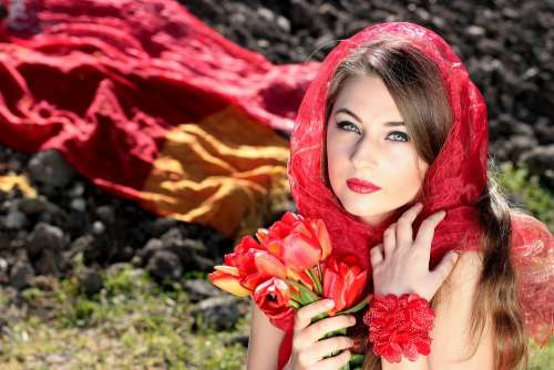 Girl Red Bouquet Of Flowers Seductive Woman Beauty