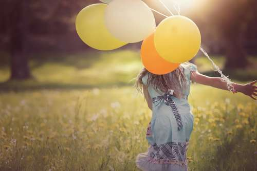 Girl Balloons Child Happy Out Freedom Free