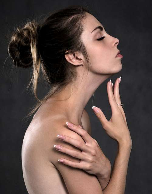Girl The Bathroom Portrait Hands Body Beauty