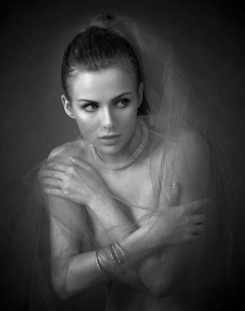 Girl Tulle Portrait Hands Female Sexy Shy Look