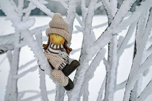 Girl Figure Cap Winter Snow Cold Sitting Tree