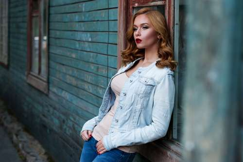 Girl Red Hair Makeup Outdoors Russian Model