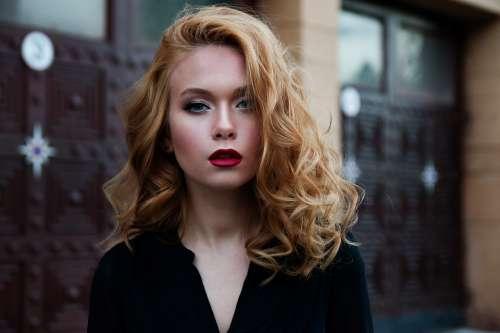 Girl Red Hair Makeup Caucasian Model Beauty